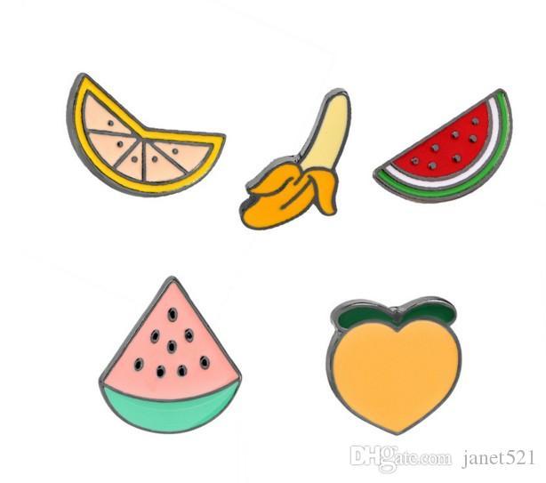 Broches insignia frutas plátano, naranja, melocotón, sandía, bricolaje solapa del esmalte de la solapa de joyería pines insignia Bolsas mochila fija Accesorios