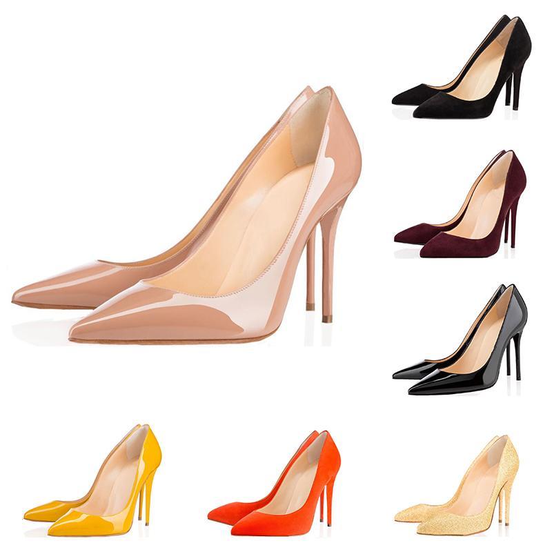 Designer de moda de luxo mulheres sapatos vermelhos de salto alto de fundo 8cm 10cm 12cm nus couro branco dedos apontados preto Bombas Vestido sapatos