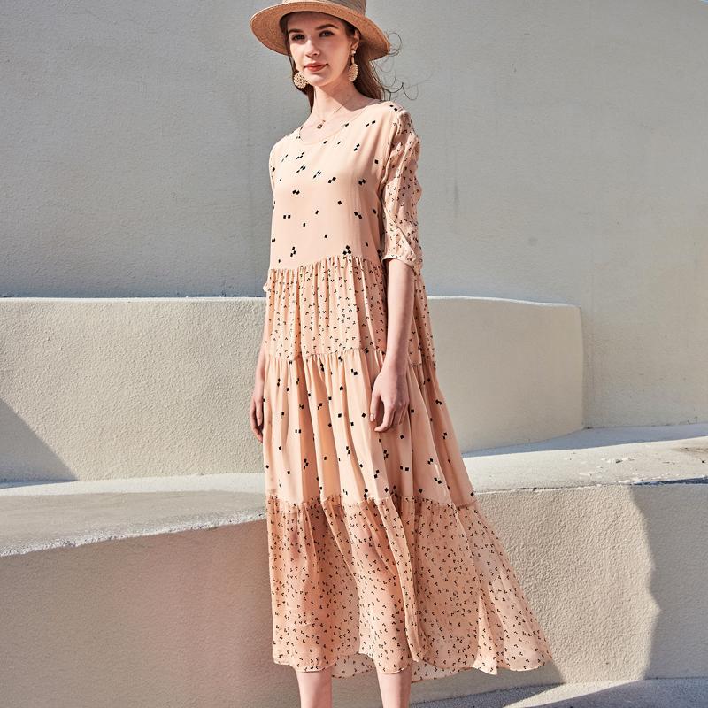 Runway 100% Mulheres Silk Dresses O Neck 3/4 mangas Impresso em camadas moda verão Vestidos de férias
