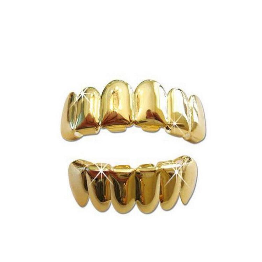Oral Care Hip Hop Teeth Grills Set Teeth Grillz Gold Rose Gold Silver Color Top Bottom Teeth Whitening Metal Cosplay Fake Tooth Plain Grills