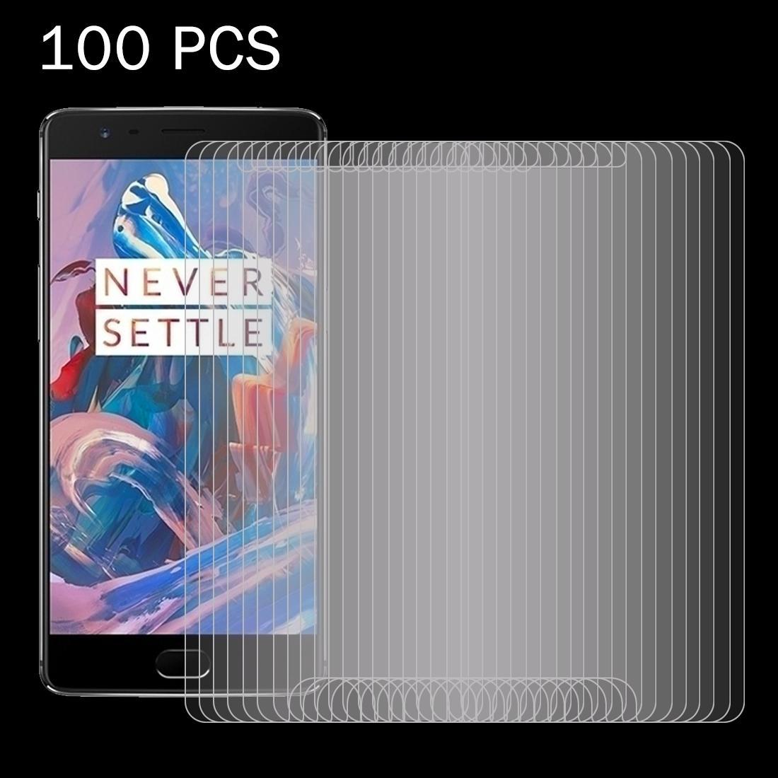 100 PCS for Oneplus Three 0.26mm 9H Surface Hardness 2.5D Explosion-proof Tempered Glass Screen Film