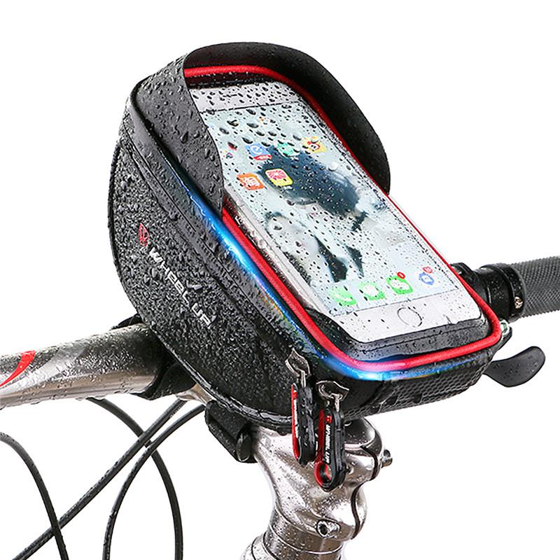 SOONHUA Cycling Bicycle Bike Mobile Phone Case Holder Front Handlebar Waterproof Storage Bag Touchscreen for 6.0 Inch Phones