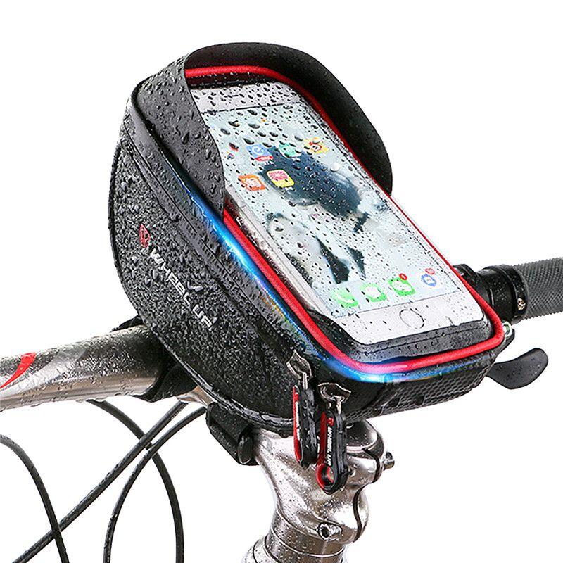 SOONHUA Ciclismo Portabici Custodia per cellulare Custodia anteriore Manubrio impermeabile Custodia da viaggio Touchscreen per telefoni da 6.0 pollici