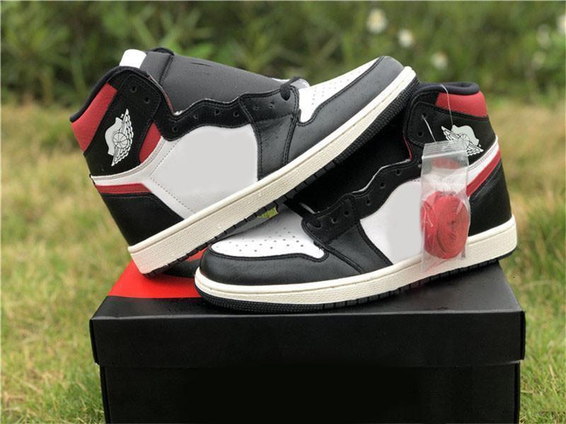 2019 Authentic 1 zapatos de alta Og Negro Hombres rojos de gimnasio de baloncesto más nuevos Negro Gimnasio Rojo Blanco Vela 555088-061 zapatos al aire libre Tamaño 7-13