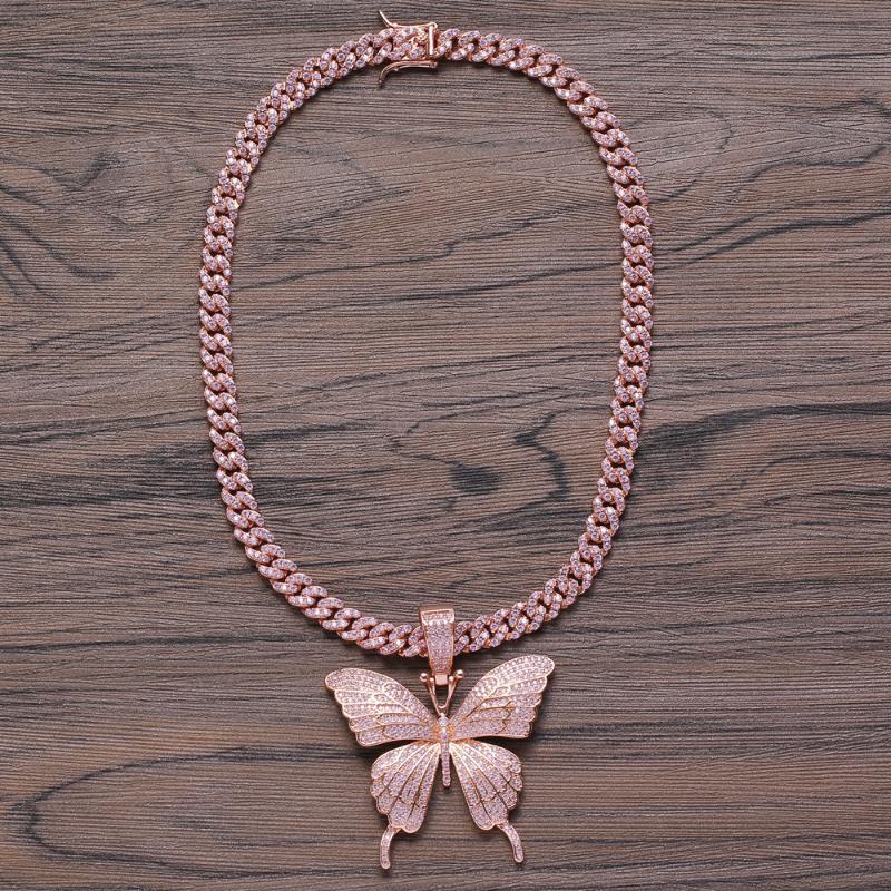 Latão CZ pingente de borboleta com 8 milímetros de bronze Cadeia cubana para fora congelado Bling que bling micro Hip Hop abrir colar de jóias para as mulheres CN111