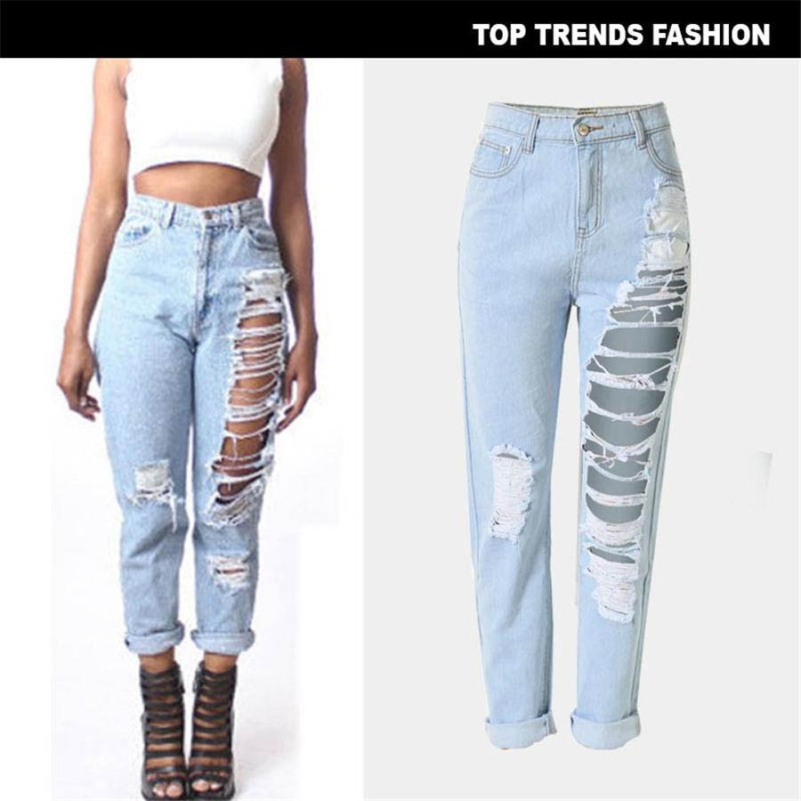 2019 New Jeans Plus Size Sexy Streetwear 펑크 Style Light Blue Jeans Womens Hollow Loose Vintage Ripped Ankle-Length Pants