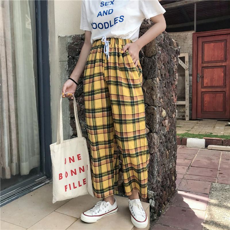 Compre Verano Estilo Japones Mujer Pantalones Amarillos De Cintura Alta Corbata De Raya A Cuadros Algodon Pantalon Inferior Y19070101 A 10 04 Del Qiyuan05 Dhgate Com