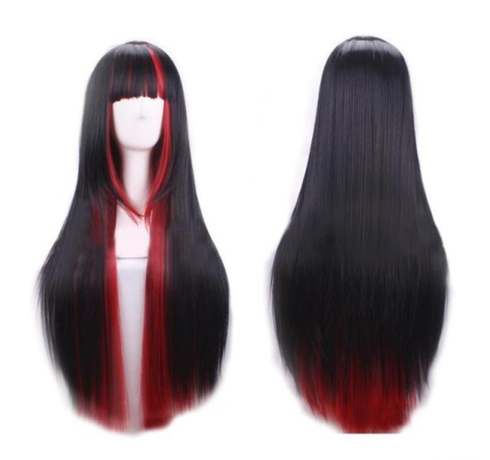 Europäische und amerikanische neue Perücke weibliche schwarze Steigung rot langen geraden Haar rot Artperücke Satzes Harajuku Hervorhebung