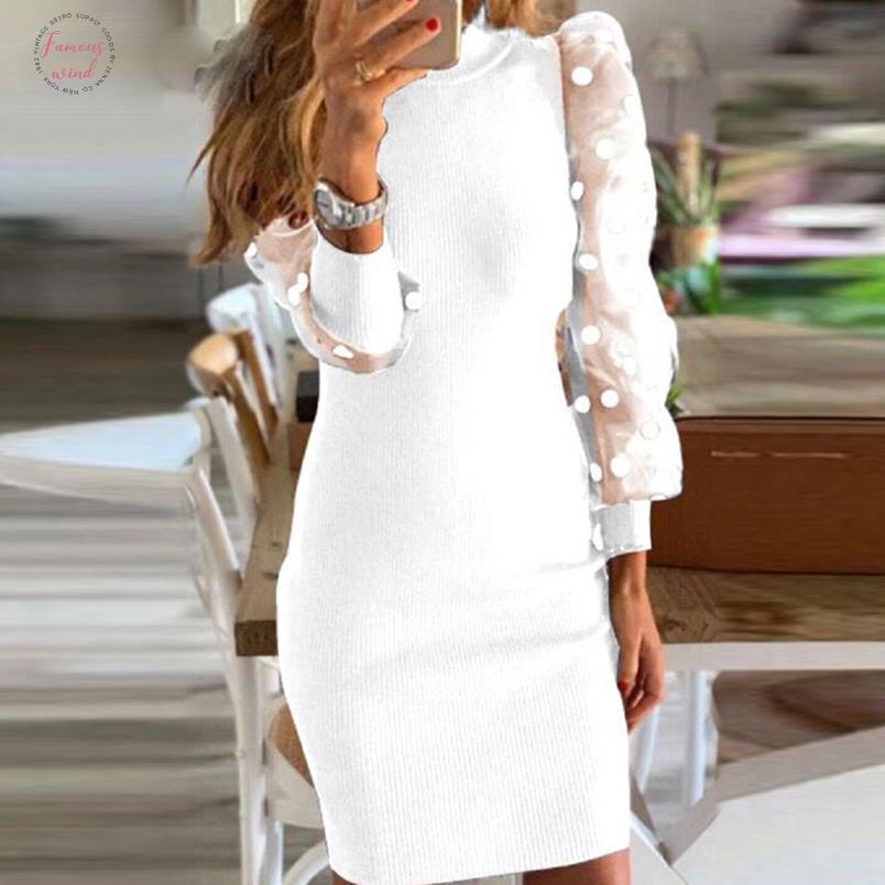 Partido del cordón atractivo de la manga de soplo largo de malla Vestido de punto Mujer Otoño O Cuello del remiendo vestido del lunar de damas de impresión Vestidos