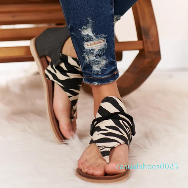 ADISPUTENT Sommer-Frauen Sandalen Flats Schuhe Frau PU-Leder-Schuhe De Mujer beiläufige Damen Schuh Böhmen Sandale Sapato Feminino c25