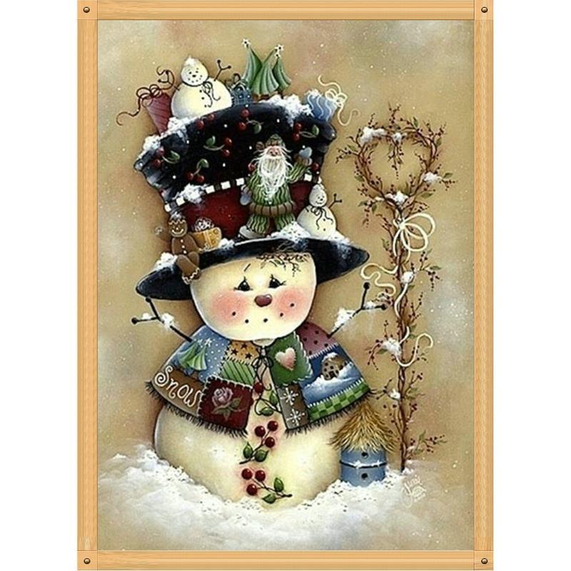 Taladro lonly muñeco de nieve completa de bricolaje 5D Rhinestone redondo bordado diamante Pintura caballo cruz kits de punto mosaico Dibujo decoración del hogar