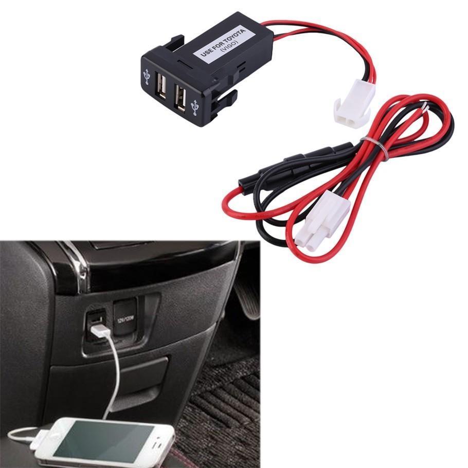 2.1A Dual USB Socket Charger Dashboard Mount Phone Input for Toyota VIGO