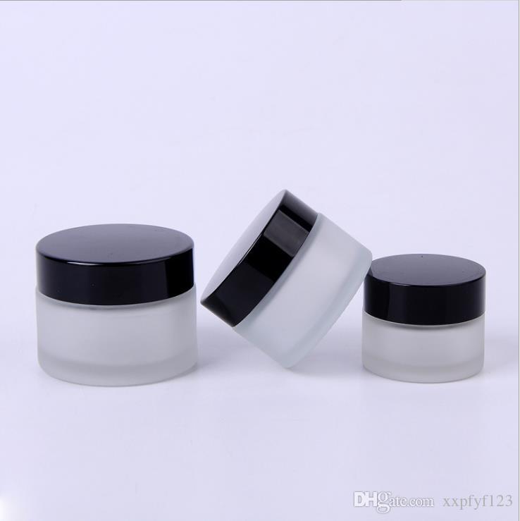 بلاستيكية الذهب الأسود غطاء زجاجة كريم 15G 20G 30G 50G 100G 5G 10G الزجاج وجهه متجمد زجاجات شفافة قناع العطور CZ233 تعبئة