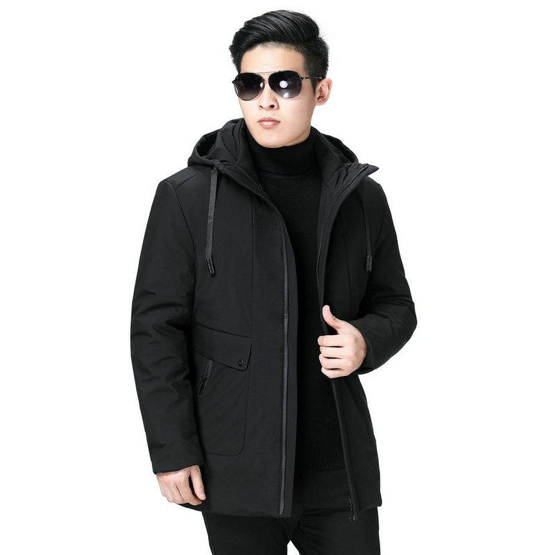 Зима Мужчины с капюшоном ветровки Черный Темно-серый сгущаться Теплый Тепловое Верхняя одежда Man Hood ватные Liner Съемные Puffer Основные куртки