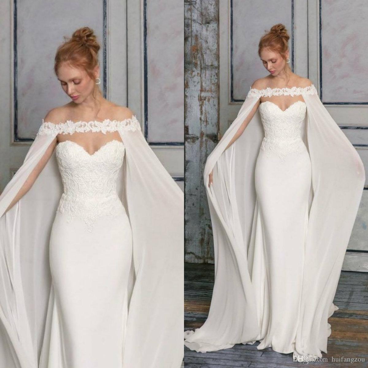 2019 Lace Applique Bridal Jackets Custom Made Cheap Long Chiffon Wedding Cape Shawls Wraps for Formal Dresses