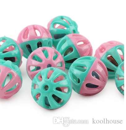20pcs jouet en plastique pour animaux de compagnie petite cloche balles jouet de chat creusé jouets de balle de chat pour chaton