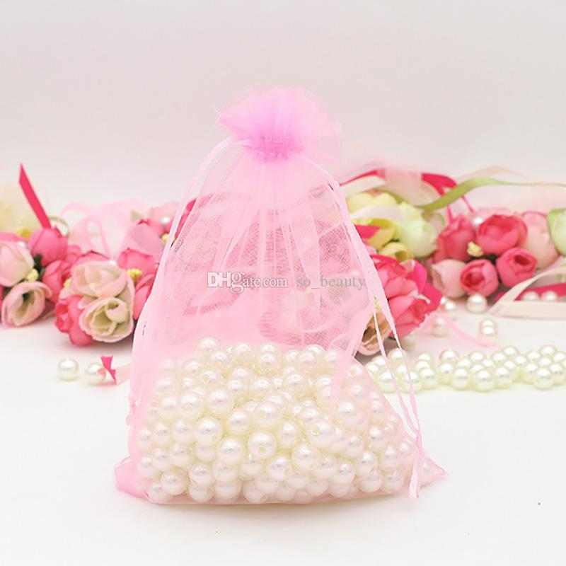 100pcs 6.5x9inch Pink Organza Packing Bags Jewelry Pouches Wedding Favors Christmas Party Drawstring Gift Bag 17 x 23 cm