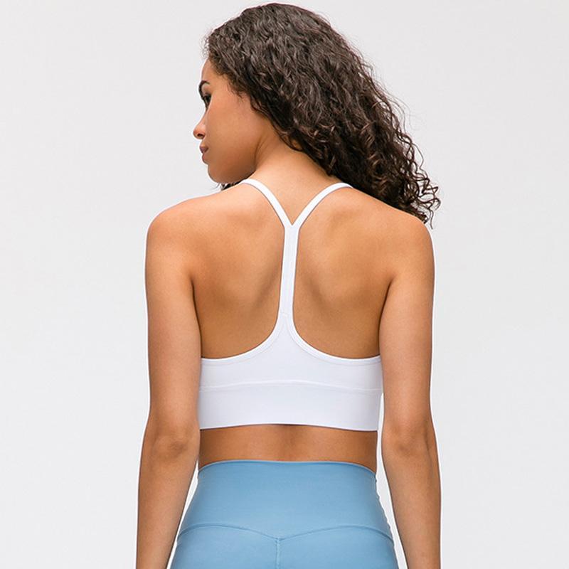 Las mujeres atractivas 2019 nueva deportes en forma de Y camisa de color sólido sujetador de gimnasia yoga chaleco LU-10 flexiones de fitness camisa de las señoras de la ropa interior de la chaqueta ejecutan gathere