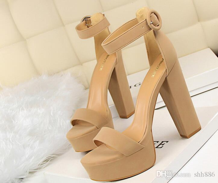 Tasarımcı Yaz modeli kadınlar kutusu ile yüksek topuk Sandalet 13 cm açık ayak parmakları tıknaz topuk platformu Sandalet Toka Kayış bayan otomobil markası Ayakkabı