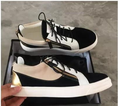 Venta caliente-zapatos casuales para hombre entrenadores zapatillas de deporte nuevas para mujer con decoración de metal remache de charol con cremallera doble zapatos altos198002
