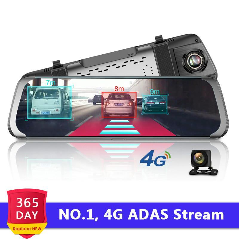 "4G ADAS Car DVR Camera 10""Android Stream Media Rear View Mirror FHD 1080P WiFi GPS Dash Cam Registrar Video Recorder"