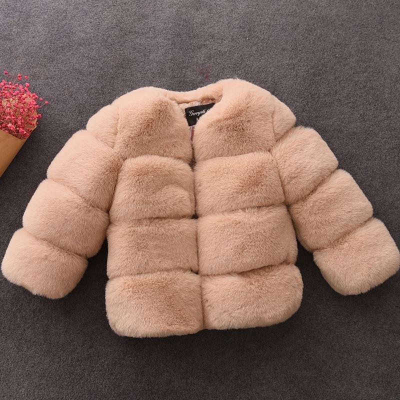 Escudo elegante adolescente nuevos invierno de las muchachas de piel gruesa piel de imitación de las chaquetas abrigos Parkas Ropa de abrigo para niños 1-10Yrs ropa de las muchachas