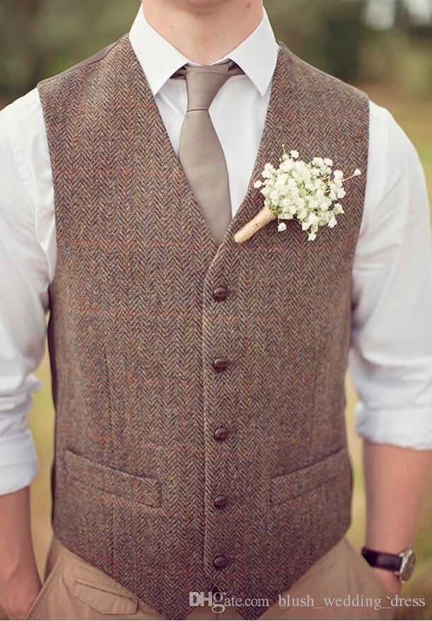 2020 Waistcoat Plus Size Country Brown Groom Vests For Wedding Wool Herringbone Tweed Custom Made Slim Fit Mens Suit Vest Farm Prom Dress