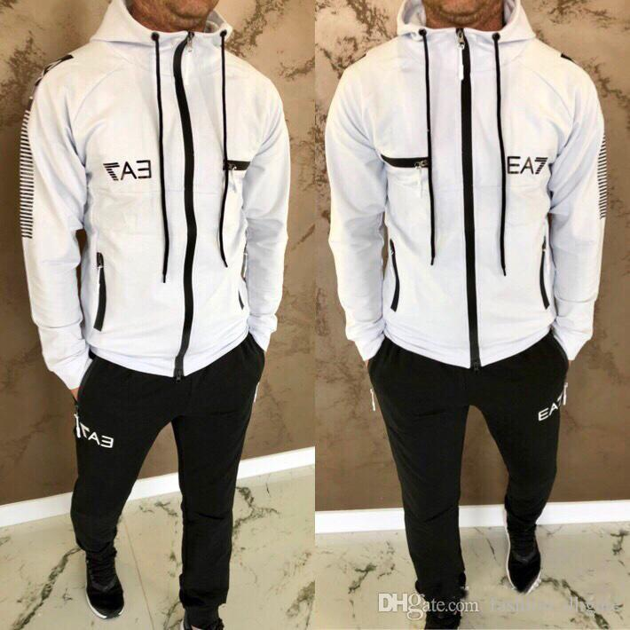 Lettera stampa tuta Moda Zipper Jacket cardigan Uomini Sportswear Due pezzi da Hoodie + Pants Sporting Tute Bianche Outdoor