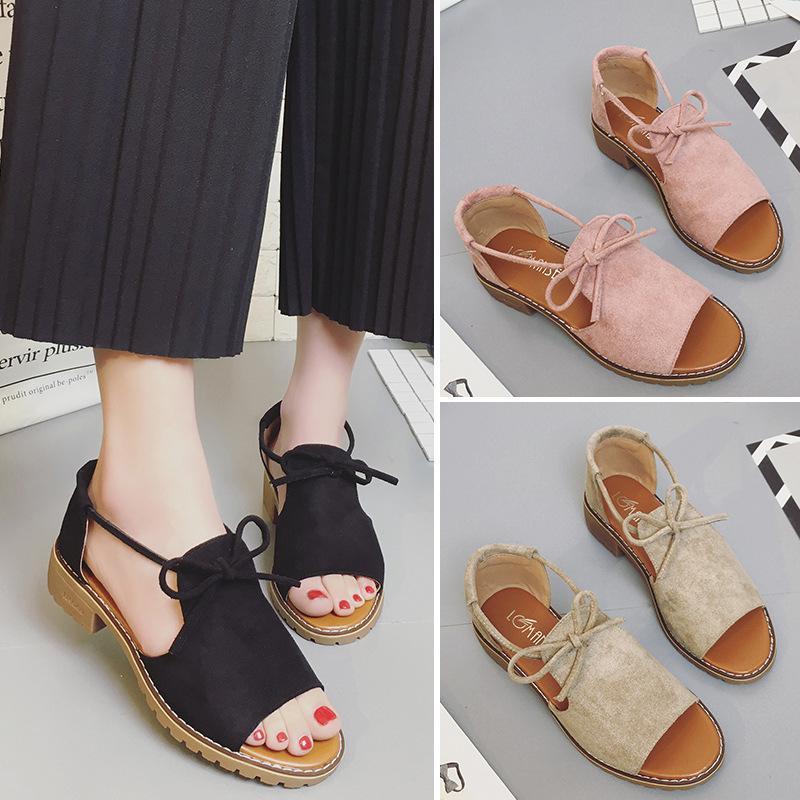 2019 новый толстый с сандалиями женские летние рыбные рты пряжка римская обувь сплошной цвет на низком каблуке женские сандали