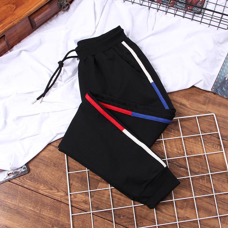 tamanho DONAMOL Além disso 5XL Tricolor Patchwork Striped Harem Pants Calças Mulheres Comprimento Casual solta Jogger Sporting elástico na cintura