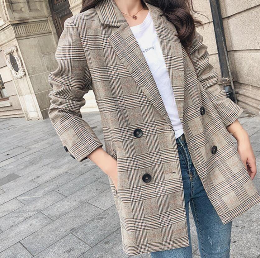 Frühlings-Frauen Plaid Blazer koreanische Art und Weise Street Causal Plaid Mantel Zweireihig Büro-Damen Houndstooth Blazer