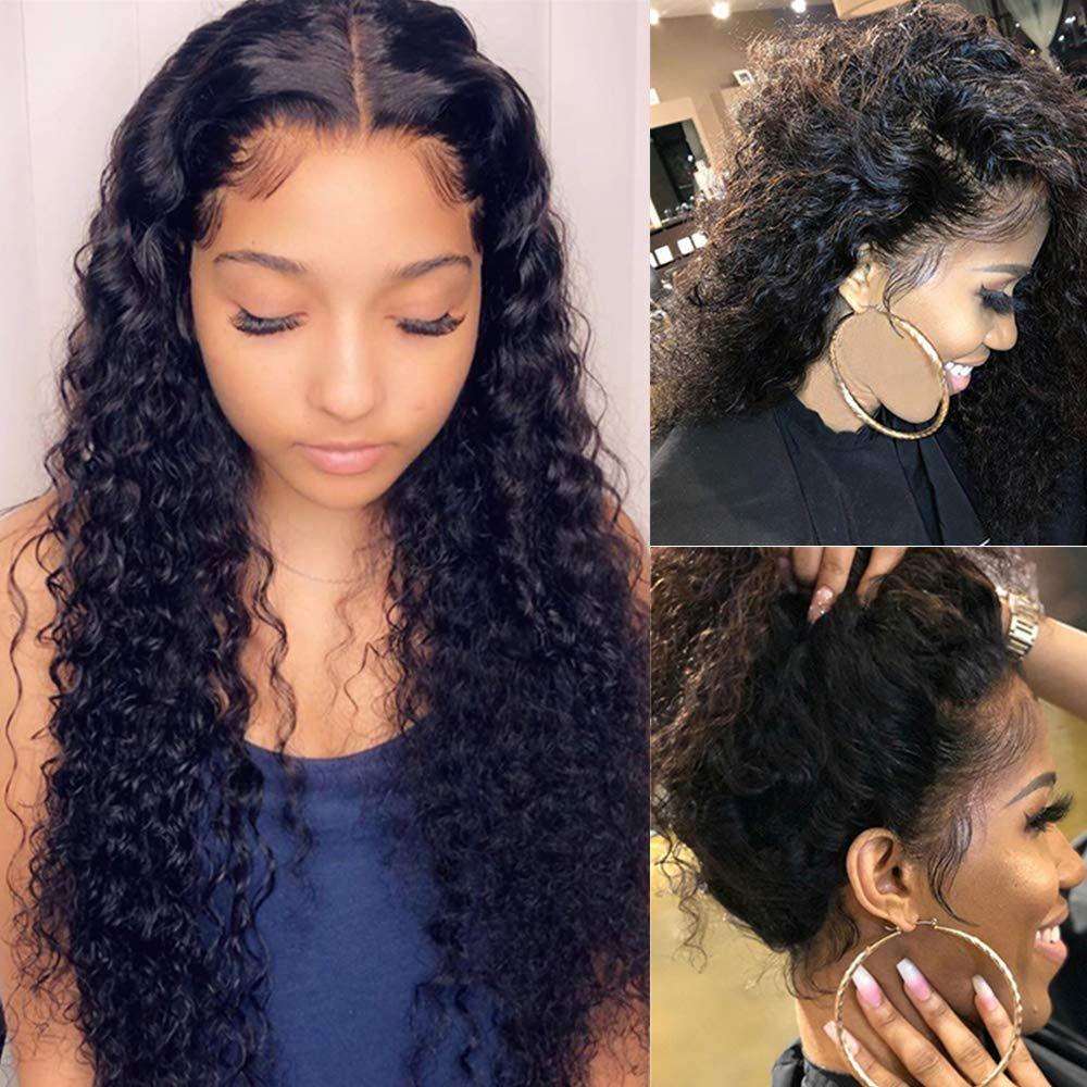 Glueless глубокой волна фронта шнурок парики 150% Плотность Deep завитых волн шнурок Фронтальной парики человеческие волосы с предварительным щипковым
