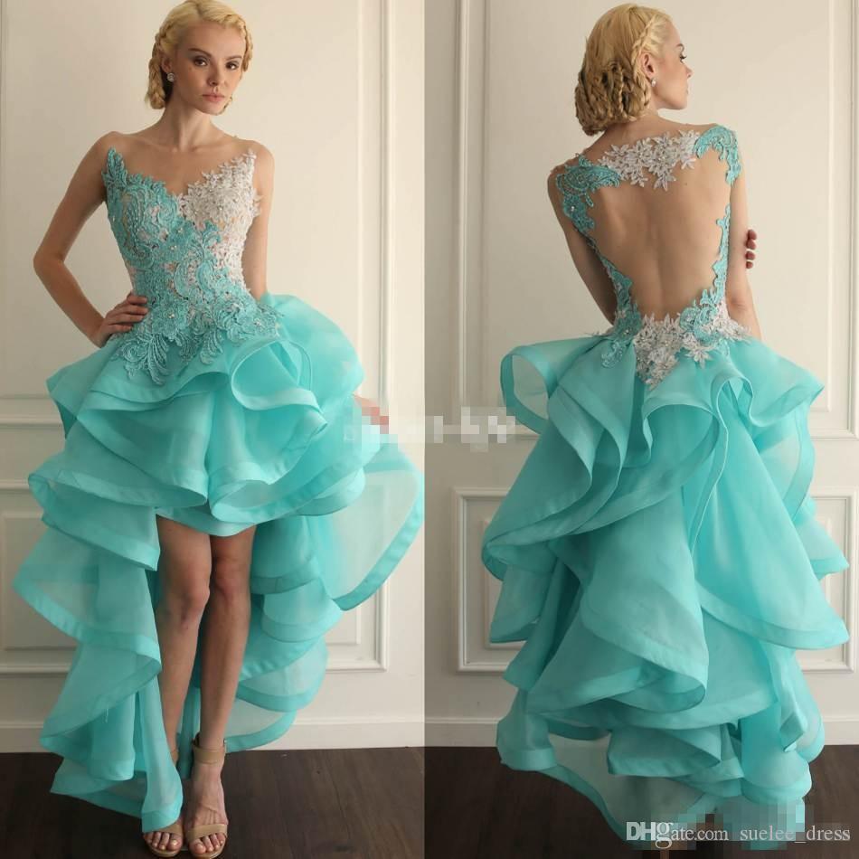 2019 High Low Prom Dresses Applique di pizzo Sexy Illusion Torna Sheer Neck senza maniche in rilievo Ruffles abito da sera formale partito