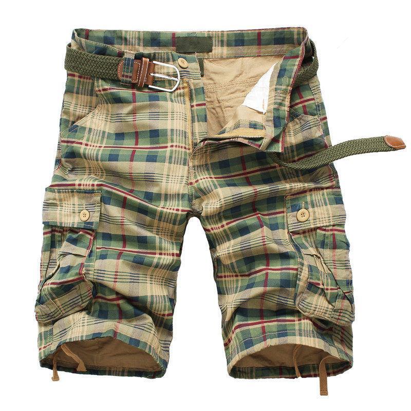 Erkekler Şort 2019 Moda Ekose Plaj Şort Erkek Casual Camo Kamuflaj Kısa Pantolon Erkek Bermuda Kargo Tulumları