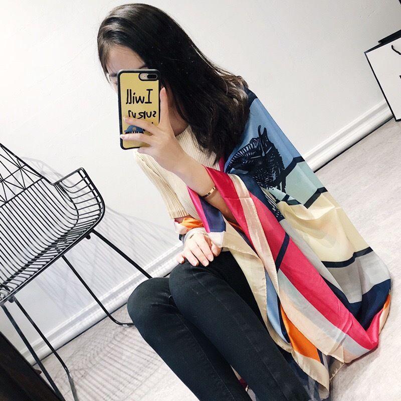 Design all'ingrosso-marca -2019 nuova sciarpa di seta per le donne versatile sciarpa di satin di seta per scialle da donna DUAL Scopo