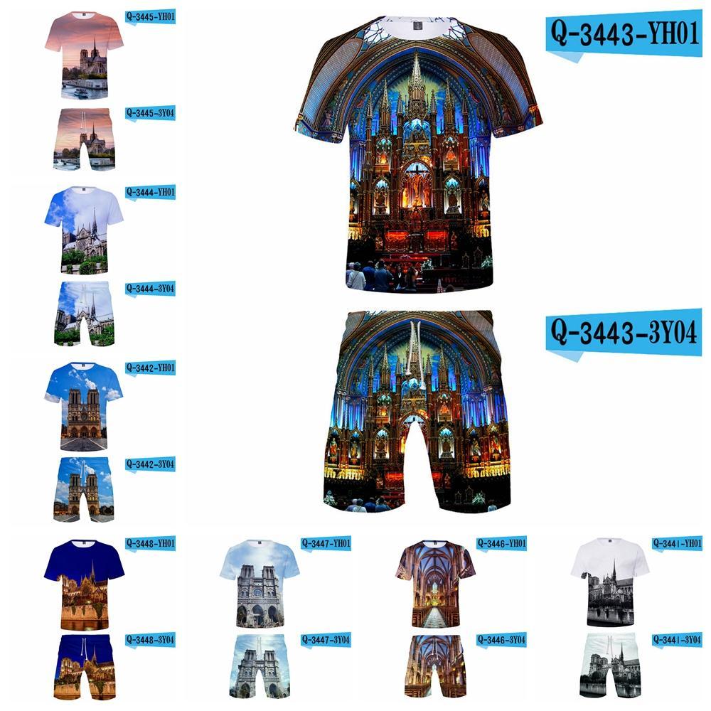 Notre Dame de Paris T-shirt pantaloncini set unisex 3D Stampato donne degli uomini di Hip Hop High Street Top Pantaloni breve tuta L-JJA2099