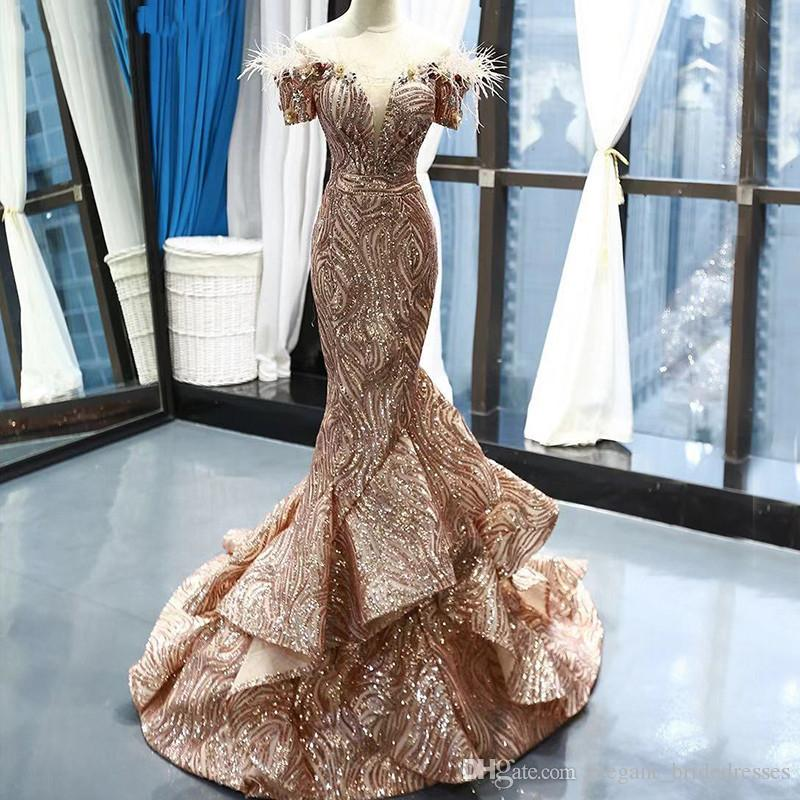 Dubai Late Gold Short Sleeves Evening Dresses Prom Dresses 2019 Luxury Sequined Feathers Bridal Gowns Real Photo Custom Made