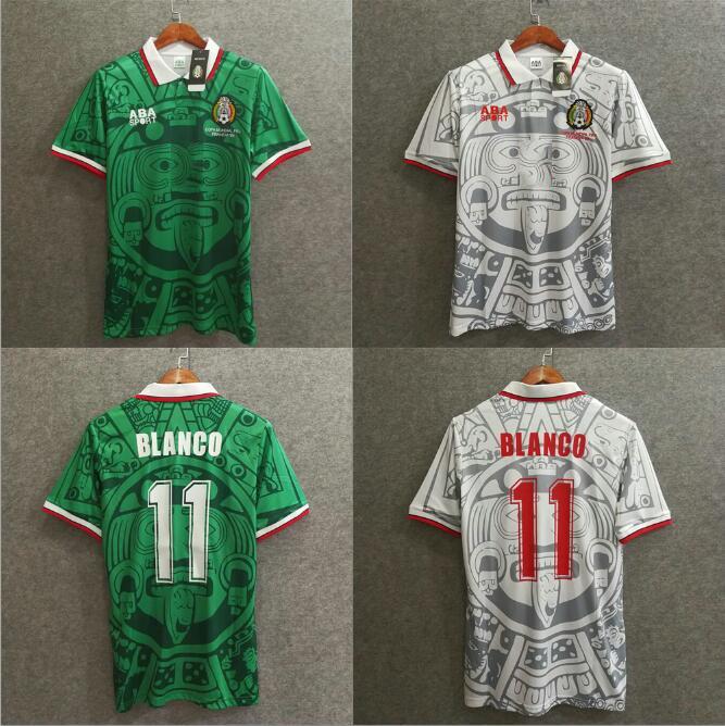 레트로 축구 유니폼 1998 S-XXL 펏볼 멕시코 BLANCO 에르난데스 블랑코 캄포스 골키퍼 1986 1994 축구 유니폼 셔츠 camiseta