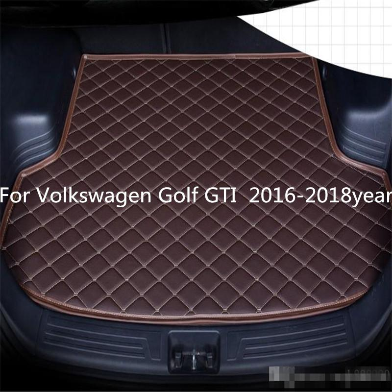 Para Volkswagen Golf GTI 2016-2018year s Car Anti-skid Mat Trunk Waterproof couro Tapete Trunk Car Mat Plano Pad