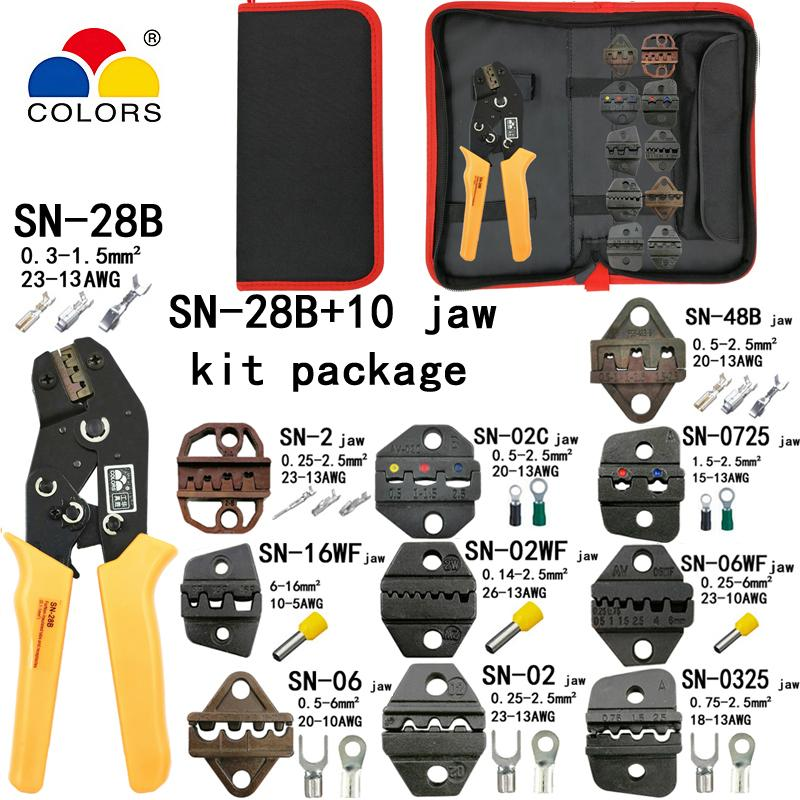 Pliers SN-28B crimping pliers 10 jaws for TAB 2.8 4.8 6.3/C3 XH2.54 3.96 2510/tube/non insulation terminals electrical clamp kit tools
