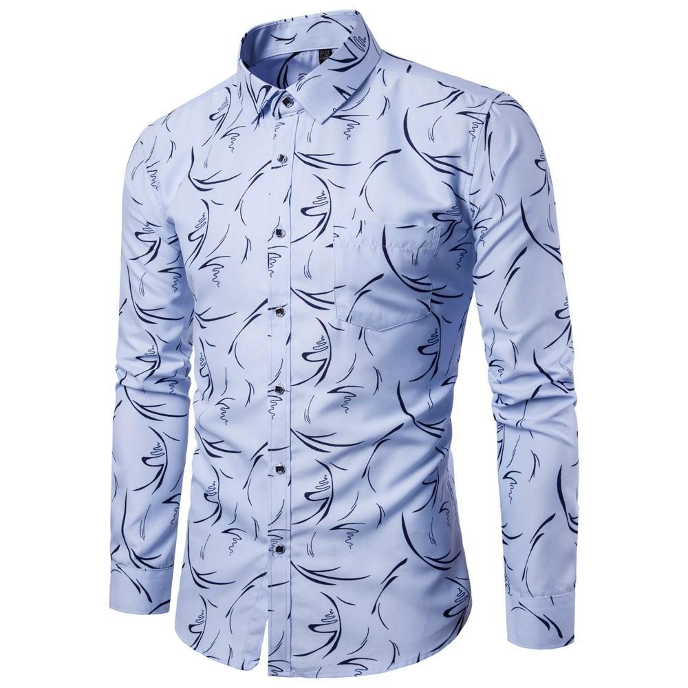 Fashion Men's Autumn Casual Shirts 2019 Long Sleeve Turn Down CollarDigital Broken Flower LStylish Men Top Blouse Blue
