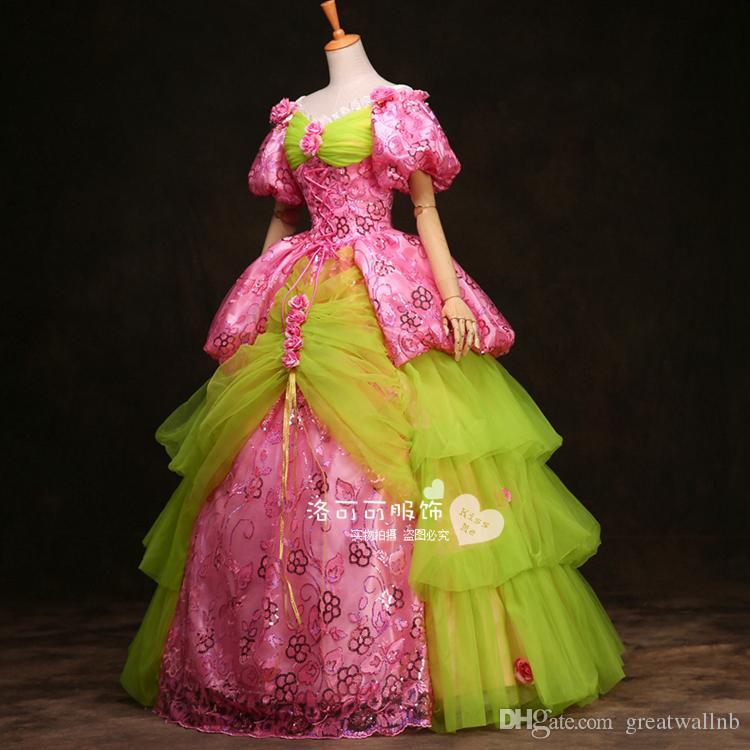 100% echte Blase Ärmel Stickerei Karneval Ballkleid mittelalterlichen Renaissance Gown Queen Kostüm viktorianischen Kleid / Marie Antoinette / Studio Ball