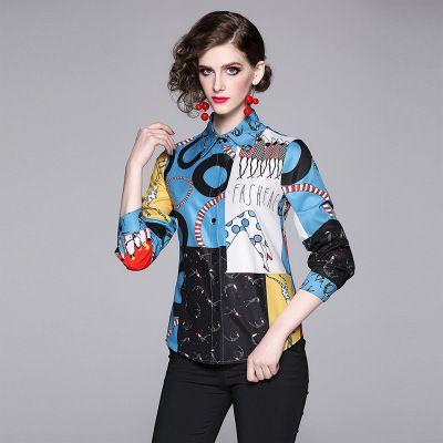 Le corps de la femme Sliming Shirt, chemisier à manches longues beauté imprimée cou chemises femmes, Lap Top Fashion