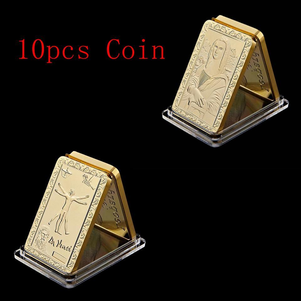 10pcs Free Shipping 24k Gold Leonardo Da Vinci's Da Vinci Smile Jesus Square Commemorative Coins