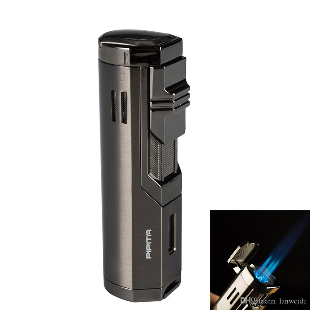 PIPITA 시가 트리플 제트 푸른 불꽃 토치 리필 금속 라이터 / 펀치 방풍 담배 부탄 토치 승 라이터 (가스 포함하지 라이터