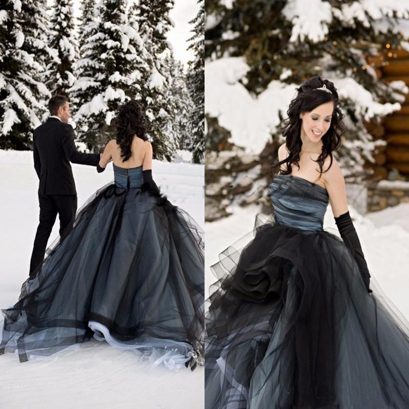 2020 Gothic Ball Gown abiti da sposa abiti da sposa in bianco e nero Tulle increspato pieghe senza spalline gonna senza spalline abiti da sposa vestido de novia