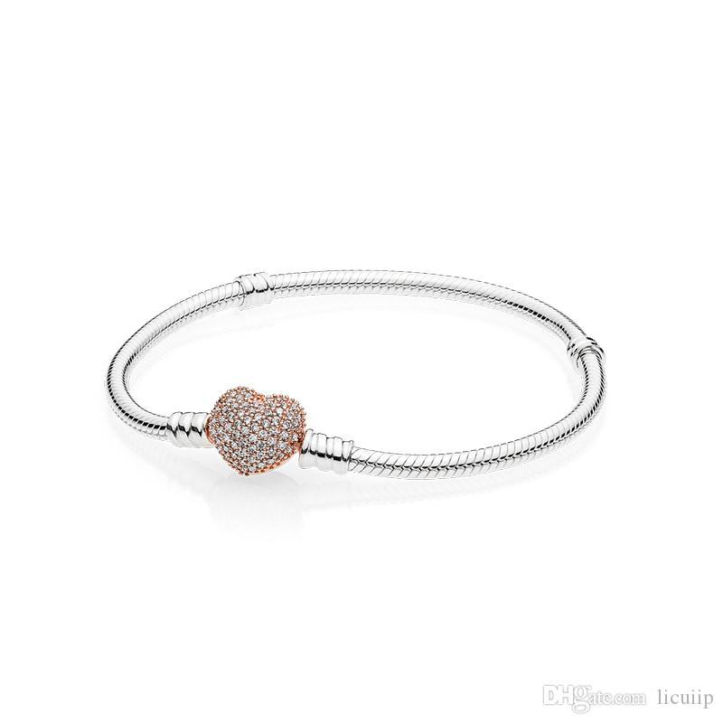 18K Rose Gold CZ PAVE Heart Buje Pulseras de cadena Caja original para Pandora 925 Sterling Silver Women Body Jewelry Pulsera Set