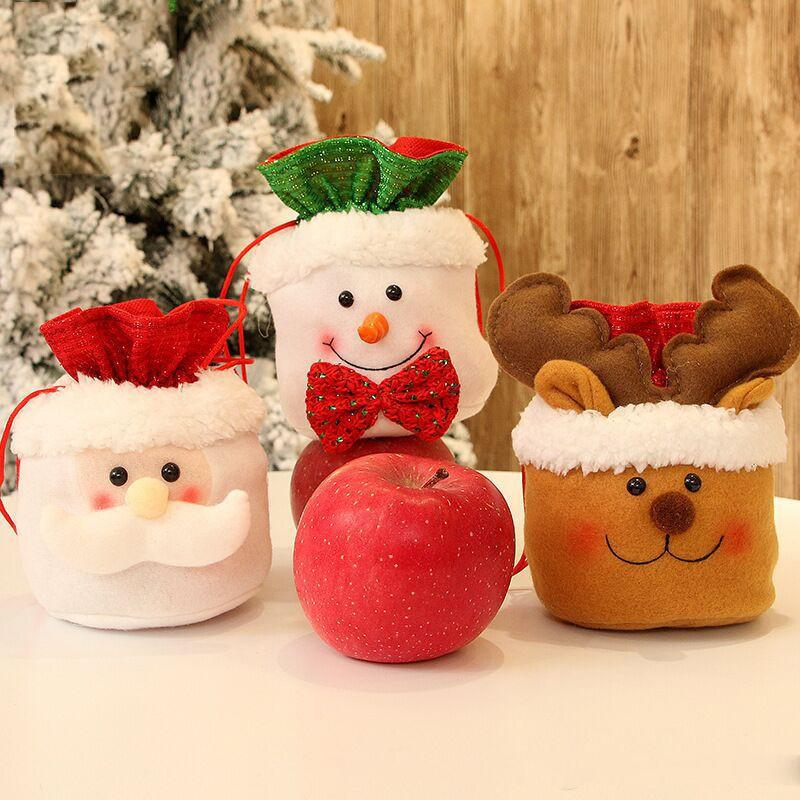 Chrismas Santa Claus Snowman Apple Candy Bags Christmas New Year Party Decorative Apple Gift Bags Xmas Eve Ornaments 6 Styles