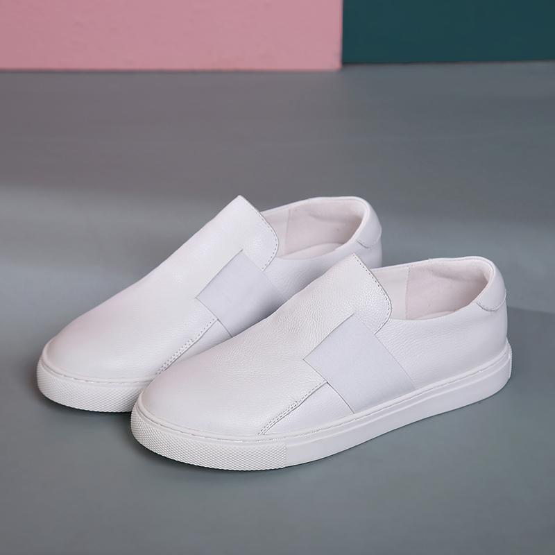 2020 yeni makosenler% 100 deri düz dipli erkek ve kadın ayakkabıları ilkbahar ve sonbahar yumuşak deri beyaz gündelik ayakkabılar