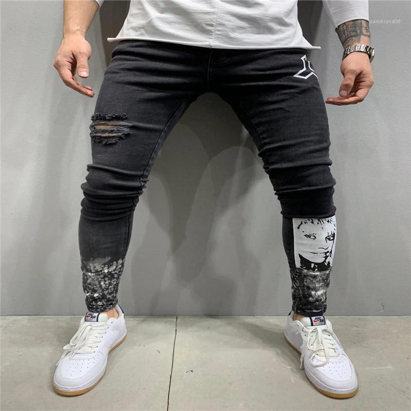 Delikler Baskılı Stretch Erkek Kot Siyah İnce Erkek Denim Kalem Pantolon Gündelik Hiphop Erkek Jeans